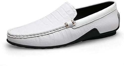 Bottes de de Loisir pour Homme, Mocassins à Bout Rond, Chaussures Plates en Relief Mocassins en Cuir à Enfiler en Cuir véritable Cousus à la Mode, Chaussures Bateau légères  haute qualité authentique