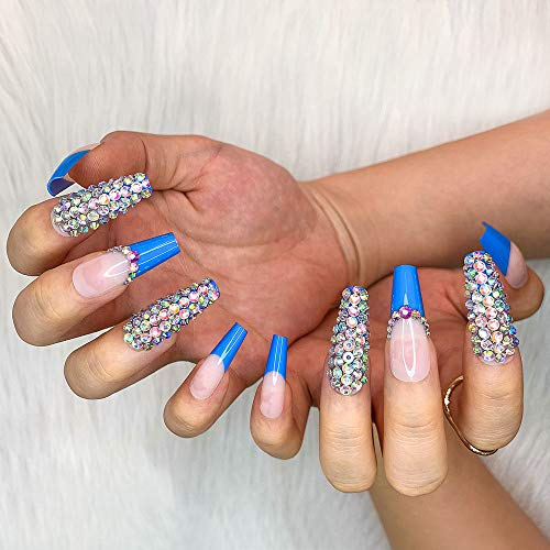 Artquee 24pcs French Blue Ballerina Diamond Long Glossy Coffin Fake Nails Press on Nail False Tips Manicure for Women and Girls