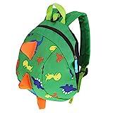Fdit Kinder Kleinkind Kinderrucksack Rucksack Anti verloren Dinosaurier Schultasche Cartoon Baby Sicherheitsgurt Leichte Rucksack Kinder(Grün)