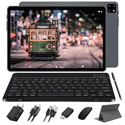 FACETEL Tablette 10.1 Pouces Android 10.0, 4 Go RAM 64 Go ROM, Écran FHD 1920 * 1200, Octa Core | 8000mAh | WI-FI | Bluetooth | GPS | Type-C(5.0 8.0 MP Caméra) -Gris