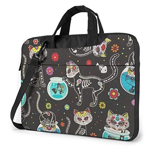 Sugar Skulls Cats Laptop Sleeve Case 13 Inch Computer Tote Bag Shoulder Messenger Briefcase for Business Travel