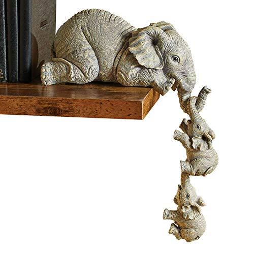 Juego de 3 figuras de elefantes, familia de resina, diseño de elefantes, madre y dos bebés para colgar en el borde, para decoración de salón y dormitorio (grande)