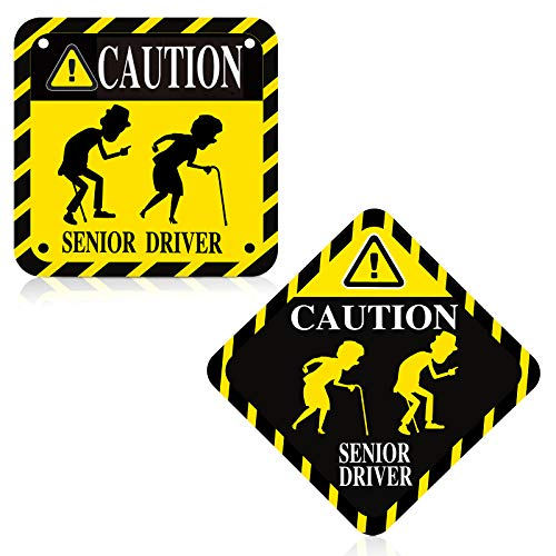 2 Pieces Senior Driver Car Magnet Car Accessories Safety Sign Car Magnet for Car Accessories Birthday Parties and Other Festive Occasions