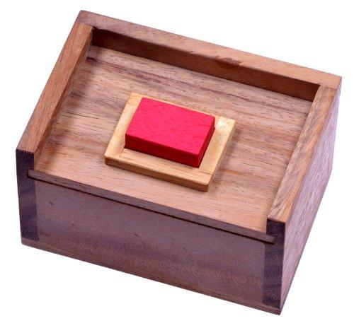LOGOPLAY Der rote Stein - 3D Puzzle - Denkspiel - Knobelspiel - Geduldspiel - Logikspiel im Holzkasten