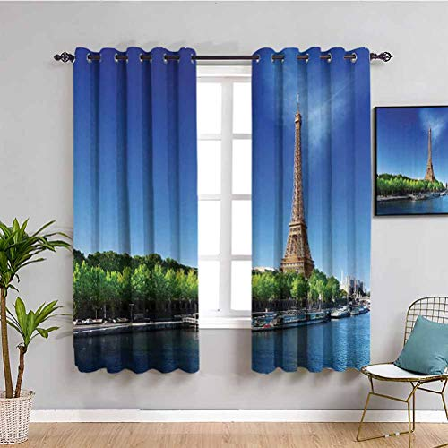 Decoración de la Torre Eiffel aislante, oscurecimiento de la habitación del Sena en París con la Torre Eiffel Sunrise Time Trees River Grass Nature Panorama Protección de privacidad W63 x L45 pulgadas