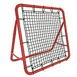 NAIZY Red de rebote para fútbol, 100 cm, tubo de acero rojo + red de polietileno, para diferentes deportes de pelota, 65 cm de ancho cuando está desplegada.