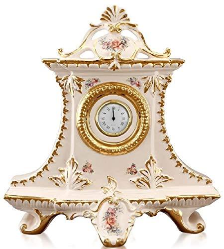 Casa Padrino Jugendstil Tischuhr Cremefarben/Gold/Mehrfarbig 43 x 16 x H. 45 cm - Barock &...