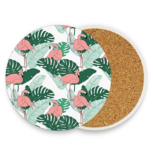 Keramik-Untersetzer für Getränke, saugfähig – Flamingo-Kork-Untersetzer als Einweihungsgeschenk, lustige Untersetzer für Zuhause, Bar, Dekorationen, keramik, Muster, 0.20x3.9inx1