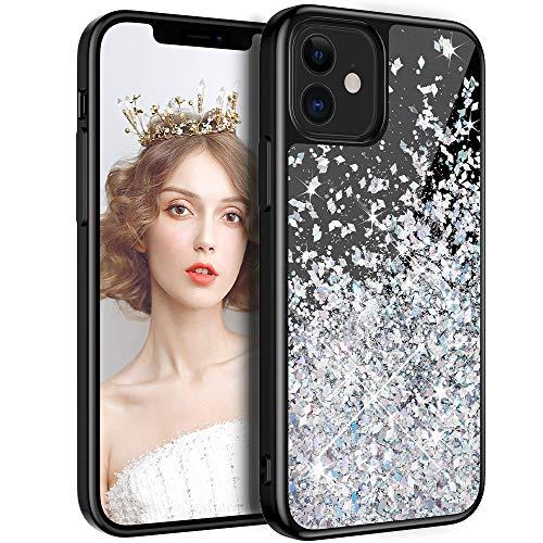 wlooo Hülle Glitzer für iPhone 12, Handyhülle iPhone 12 Pro Glitzer, Glitter Schwarz Flüssig Mädchen Frauen Treibsand Weich TPU Silikon Schutzhülle Case Cover (Silber)