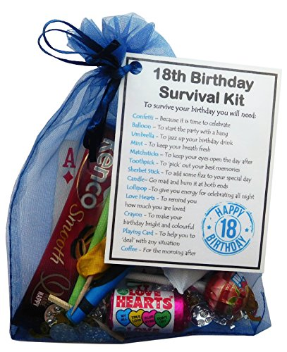 SMILE GIFTS UK 18th Birthday Survival Kit Gift - Novelty 18th gift for him BLUE Bag - 18th birthday...