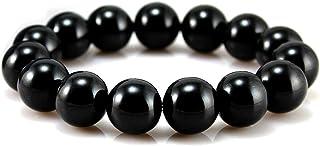 POWER IONICS Tourmaline Bracelet Health Ion Big Beads Stretch Bracelet Wristband Stretch (Black)