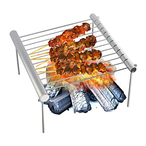 AIHOUSE Tragbares Camping Grill, Klapp Kompakte Edelstahl Holzkohle Grill-Grill Mini Abnehmbarer Grill