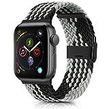 Amzpas Cinturino Intrecciato Regolabile Compatible per Apple Watch 38mm 40mm 42mm 44mm, Elastico Intrecciato Cinturino con Fibbia per iWatch Series 6,5,4,3,2,1,SE