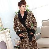 TENGTENGCAI Flanelle Robe De Nuit Peignoir Robe De Chambre,Leopard Men's Fluffy Robe...