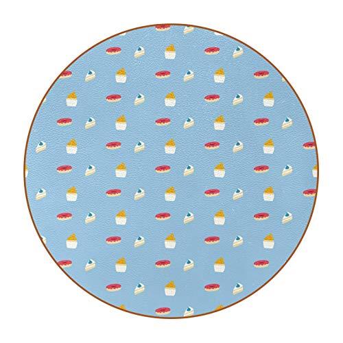 6 posavasos duraderos con base de cuero de microfibra para tazas de vidrio, taza de café, taza de postre y donuts con fondo azul
