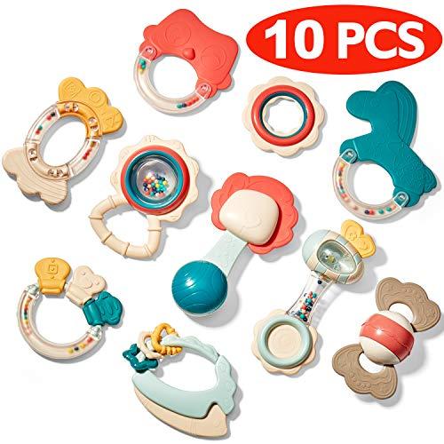 CubicFun Mordedor Bebe Sonajeros Bebe Set Juguetes Bebe 3 4 6 9 12 Meses BPA-Gratis Juguetes para la Dentición Refrigerante Conjunto de Mordedores Sonajeros para Bebés Infantil 0-6-12 Meses
