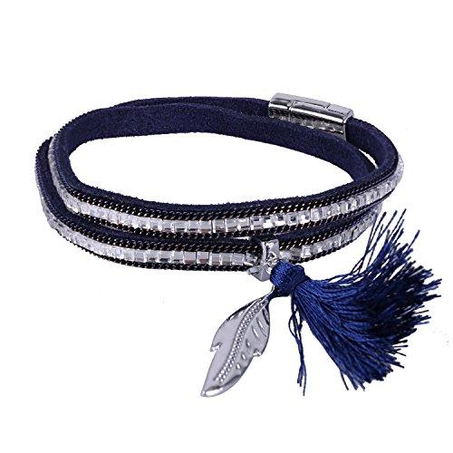 KELITCH Armbänder für Damen 2 Kreis Magnetismus Knopf Blau Leder Armband Ethno mit Blatt Quaste Anhänger