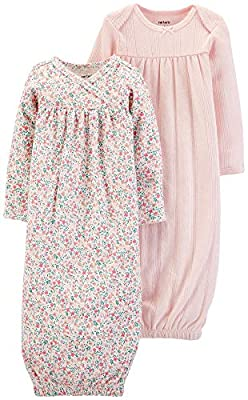 Carter's Baby Girls' 2-Pack Sleeper Gowns Pink Floral (3 Months)