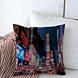 Fundas de Cojines Fundas Cojines Estuches Decorativos Times Ciudad Colorida Gente Nueva York Amarillo 5 de Agosto Centro Monumentos Parques Carretera al Aire Libre para sofá Sofá Cama 18'x18'