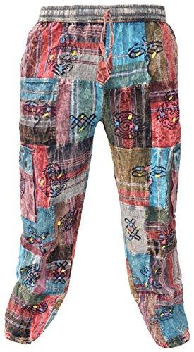 Little Kathmandu Hombres – Pantalón loose algodón parche Casual Lounge pantalones de Nepal multicolor Fleece Lined Shyama Patch XXXL