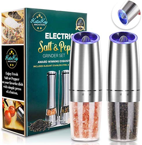 JOBKIM Gravity Electric Pepper Grinder set of 2, Automatic Salt and Pepper Mill Grinder, Battery Powered, Adjustable Roughness, Blue LED Light, Stainless Steel with One Hand Operation