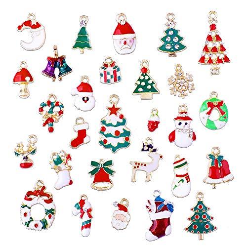 Gudotra 38pz Mini Ciondoli Natalizi Colorati Pendenti per Natale Gioielli Collane Bracciali Orecchini Fai da Te Decorazioni Natalizie