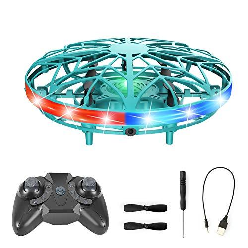 NXACETN UFO Mini Drone Toy, elicottero a mano RC per bambini, mini drone, alimentato a mano, con sensore di movimento UFO per bambini, adulti, ragazzi, ragazze, per interni ed esterni, verde