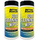 Better Boat Cleaner Wipes with UV Marine Boat Vinyl and Boat Seat Cleaner and Protectant 80 Wipes