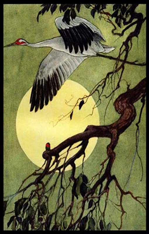 Egret In Flight With A Full Moon Etched Vinyl Stained Glass Film Static Cling Window Decal