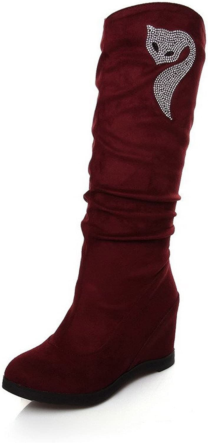 WeiPoot Women's Round Closed Toe Imitated Suede Pull-on High-Heels Mid-Calf Boots