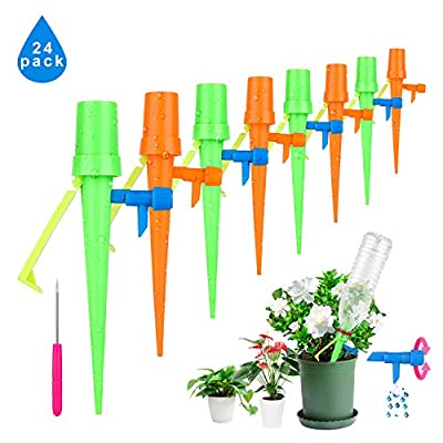 Plant Watering Spikes 24-Pack Upgraded Self Watering Devices with Control Valve Switch, Automatic Plant Waterer Vacation Drip Irrigation Water Stakes for Indoor & Outdoor, Fit for All Most Bottles from jiabang