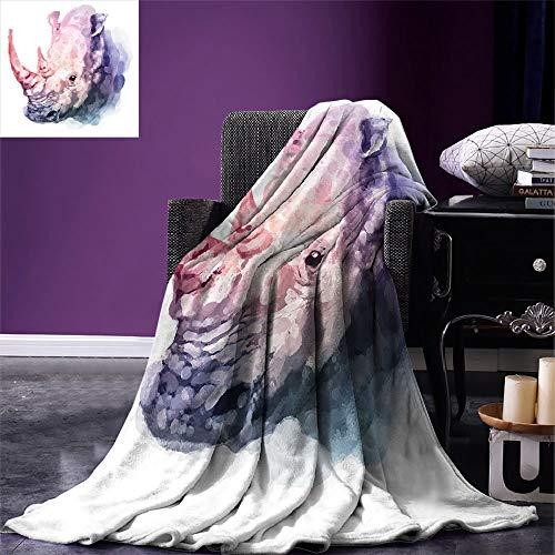 Decke Aquarell Decke Decke Farbverlauf Pinsel Stil Tropische Tier Nashorn Safari Kunstvolle Farbe Drucken Lila Und Rosa Camping Ganzjährig Fleece Decke Warme Decke Bett Bett Couch