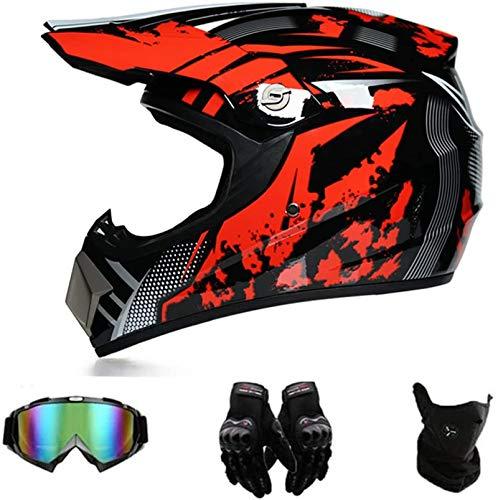 GAODA Motocross Motorradhelm Downhill Fullface Helm, BMX MTB Helm mit Handschuhen...