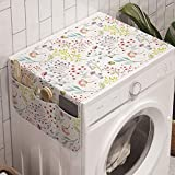 Ambesonne Colorful Washing Machine Organizer, Pastel Toned Watercolor Arrangement with Mushrooms and Wildflowers Dotted Design, Anti-slip Fabric Top Cover for Washer and Dryer, 47' x 18.5', Multicolor