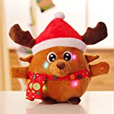 """8.7"""" Animated Musical Reindeer Figure Kids Soft Plush Stuffed Toy Doll Lights up Singing Christmas Figurine Decorations Electric Home Ornament Decoration Toys for Kids Birthday Present"""