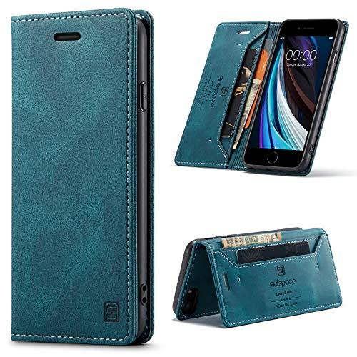 EYZUTAK LederHülle für Samsung Galaxy A21S, Magnetverschluss Premium PU Leder Flip Hülle mit Kartenfächern RFID Schutz Brieftasche Standfuntion stoßfeste Klapphülle Vintage Ledertasche - Blau