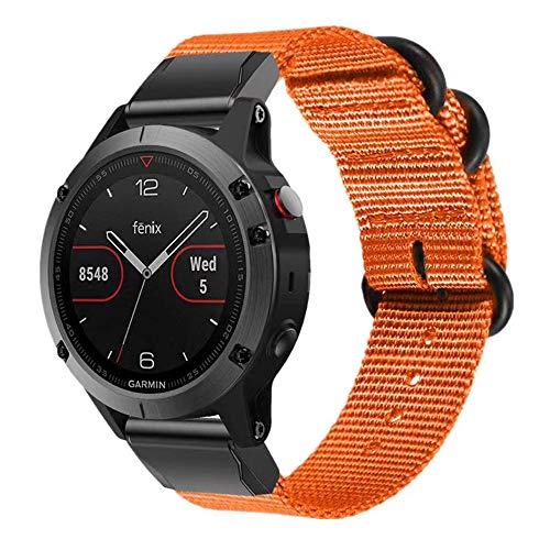 Miimall, cinturino in nylon per Garmin Fenix 6X /Fenix 6X Pro/Fenix 5X /Fenix 5X Plus/Fenix 3/Fenix 3 HR, 26 mm, Quick Fit, cinturino di ricambio con fibbie in acciaio inox, colore arancione