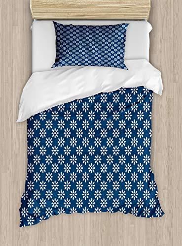 ABAKUHAUS Nederlands Dekbedovertrekset, Classic Delft Bloemen, Decoratieve 2-delige Bedset met 1 siersloop, 130 cm x 200 cm, Navy Blue and White
