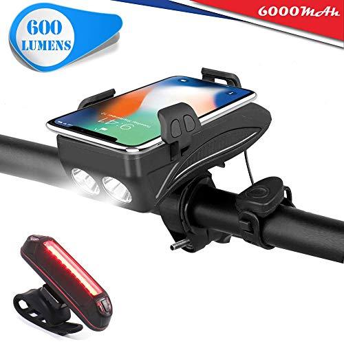 USB wiederaufladbares Fahrrad licht,600 Lumen handyhalterung Fahrrad und fahrradklingel und 3000/6000mAh mobiles Netzteil,geeignet für alle Fahrräder,Schwarz,6000mAh