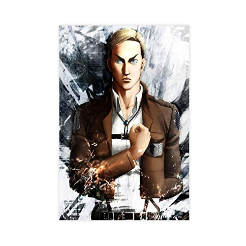 Póster decorativo de anime Attack on Titan Erwin Smith, lienzo decorativo para pared, para sala de estar, dormitorio, 30 x 45 cm, estilo Unframe-1