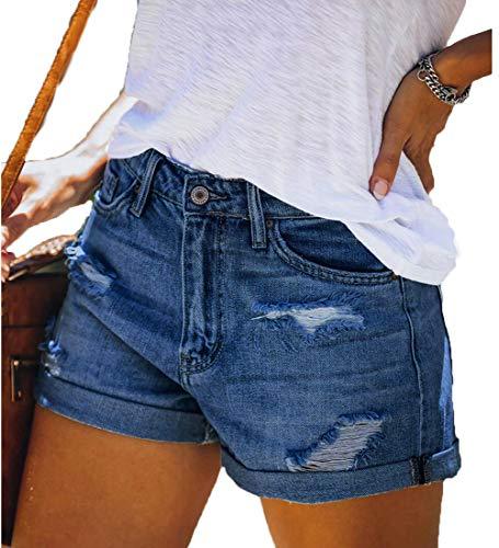 LIXILI Mujeres Casuales deshilachados destruyen Bermudas Denim Rompe Short Jeans,Dark Blue,S