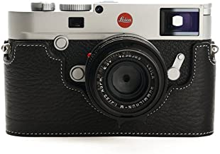 Leica M10 Case, BolinUS Handmade Genuine Real Leather Half Camera Case Bag Cover for Leica M10 Camera With Hand Strap - Black