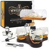 Whisiskey ® Whisky Karaffe - Segelschiff - Whiskey Karaffe Set - 1L - Geschenke für Männer - Inkl. 4 Whisky Steine, Ausgießer, Zapfhahn & 4 Whisky Gläser