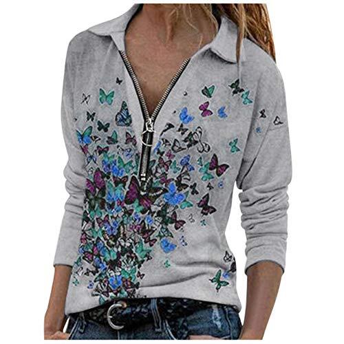 YANFANG 2020 suéter Holgado de Manga Larga con Solapa y Cremallera con Estampado de Mariposas para Mujer de Talla Grande,Tops Holgados Sudadera de Gran Tamaño Blusa Túnica
