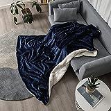 Flauschige Kuscheldecke 160*200cm hochwertige Wohndecke super weiche Fleecedecke als Sofaüberwurf Tagesdecke oder Wohnzimmerdecke(Navy blau)