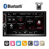 "Podofo Double Din Car Stereo Digital Multimedia Receiver Upgrade UI 7"" Touch Screen Autoradio Support Bluetooth,FM,USB,SD Card,AUX in,Mirror Link,Steering Wheel Controls+Rear View Camera"