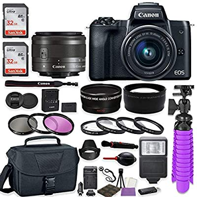 Canon EOS M50 Mirrorless Digital Camera (Black) Premium Accessory Bundle with EF-M 15-45mm is STM Lens (Graphite) + Gadget Case + 64GB Memory + HD Filters + Auxiliary Lenses from Canon