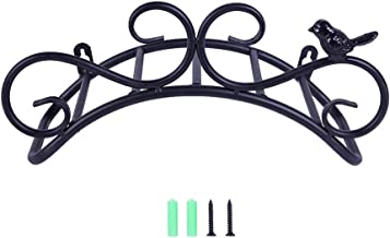 "Lesmin 13.8"" Cast Iron Antique Style Bird Brackets Garden Braces Water Pipe Storage Rack Rustic Shelf Bracket Black"
