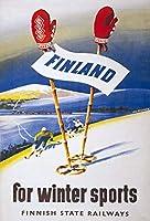 フィンランドウィンタースポーツフィンランド旅行、錫サインヴィンテージ面白い生き物鉄の絵画金属板ノベルティ
