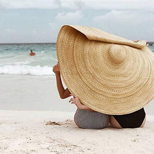 Damen Strohhut Visier, LeeMon Übergroß Strandhut Faltbar Hut Mode Urlaub Reisen Reisehut Sonnencreme Schal Sonnenschirm (Khaki)